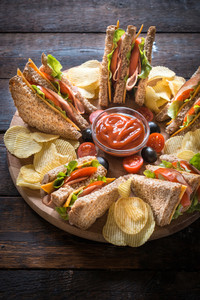 Served Club Sandwiches