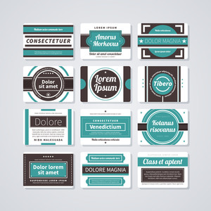 Set Of 12 Rectangle Retro Badges On White Background.