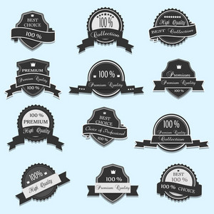 Set Of 12 Vector Premium Quality Labels
