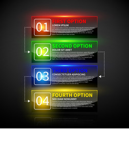Set Of 4 Colorful Options With Numbers And Glowing Lights.