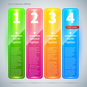 Set Of 4 Colorful Vertical Banners.