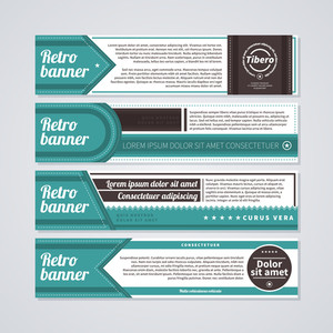 Set Of 4 Horizontal Retro Banners. Useful For Web Design And Advertising.