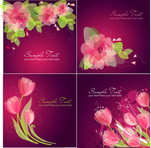 Set Of 4 Romantic Flower Backgrounds In Pink And White Colours. Ideal For Wedding Invitation