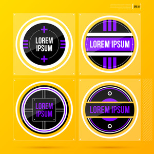 Set Of 4 Round Labels/badges On Bright Yellow Background. Eps10