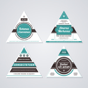 Set Of 4 Triangle Retro Badges On White Background.