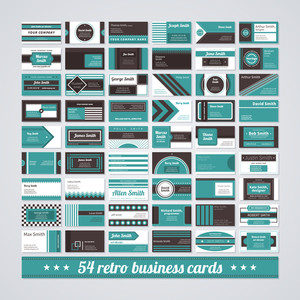 Set Of 54 Different Business Cards In Retro Style.