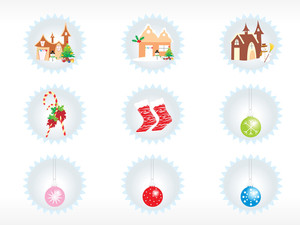 Set Of 6 Christmas Sticker Background