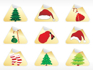 Set Of 6 Christmas Sticker Illustration