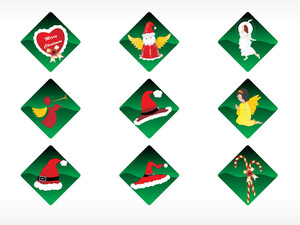 Set Of 6 Christmas Sticker Vector