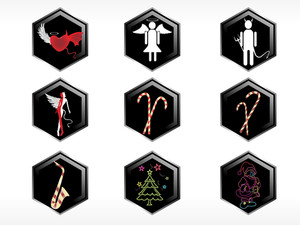 Set Of 6 Christmas Sticker Wallpaper
