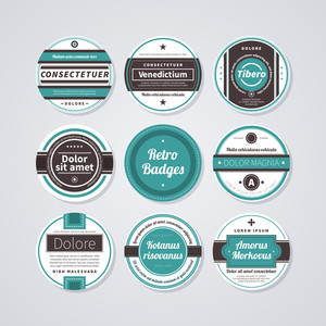 Set Of 9 Circle Labels In Retro Style On White Background.
