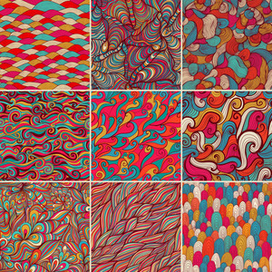 Set Of 9 Colorful Wave Patterns (seamlessly Tiling).seamless Pattern Can Be Used For Wallpaper