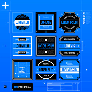 Set Of 9 Different Labels/badges In Blueprint Style. Eps10