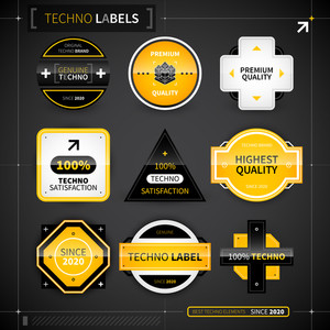 Set Of 9 Labels In Techno Style. Eps10.