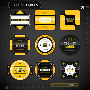 Set Of 9 Techno Labels. Eps10.