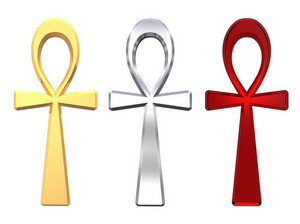 Set Of Ankh Symbols Isolated On The White.