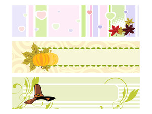 Set Of Banner For Happy Thanksgiving Day