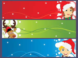 Set Of Banner For Merry Xmas