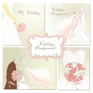 Set Of Beautiful Vector Wedding Backgrounds. Easy To Edit. Perfect For Wedding Invitations Or Announcements.
