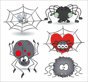 Set Of Cartoon Funny Spiders Vector Illustrations