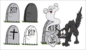 Set Of Cartoon Grave Vector