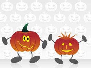 Set Of Cartoon Pumpkin With Background