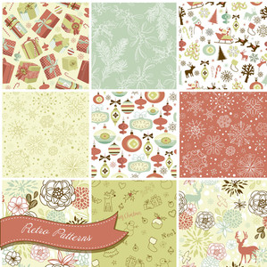 Set Of Christmas Seamless Backgrounds