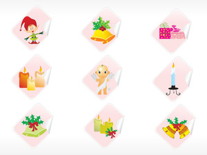 Set Of Christmas Sticker Vector
