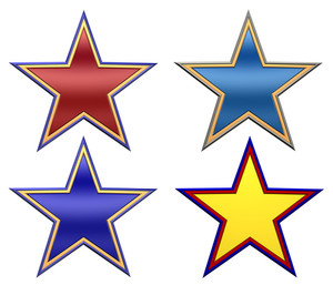 Set Of Color Stars Isolated On White.