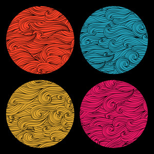 Set Of Colored Round Shape Made Of Waves Ornaments. Elements For Your Design.