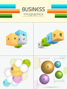 Set of colorful Business Infographic elements including 3D cubes