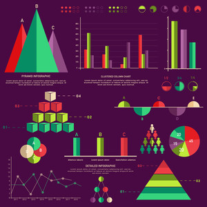 Set of colorful creative Business Infographic elements including statistical graphs and charts on purple background.