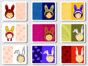 Set Of Colorful Design Stamp For Easter