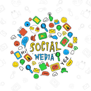 Set of colorful hand drawn social media icons