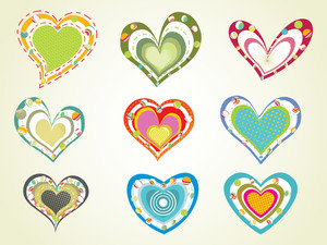 Set Of Colorful Hearts With Background