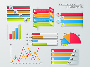 Set of colorful infographic elements including graphs