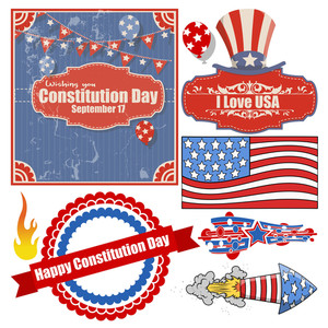 Set Of - Constitution Day Vector Illustration