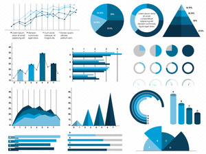 Set of creative statistical Infographic elements for business reports and presentation.