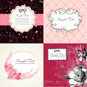 Set Of Cute Floral Frames