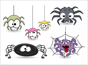 Set Of Cute Funny Cartoon Spiders Vectors