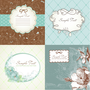Set Of Cute Greeting Cards