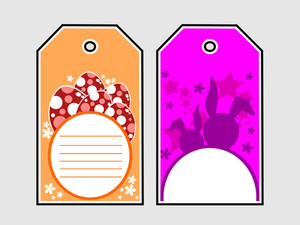 Set Of Decorated Colorful Easter Eale Tag