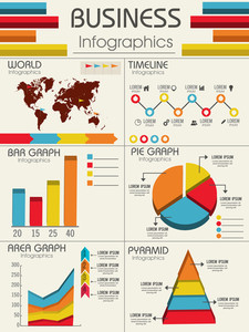 Set of different infographics including World Map