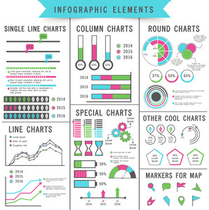 Set of different statistical charts and graphs infographic elements for your professional business reports and financial growth presentation.