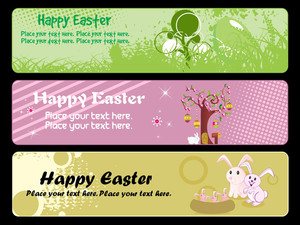 Set Of Easter Banner