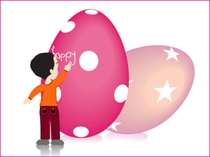 Set Of Easter Egg With Boy