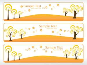 Set Of Eco Tree Pattern  Banner