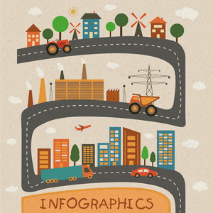 Set of ecological based infographic elements layout with industrial city and road view.