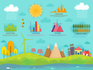 Set of ecology infographic elements including illustration of city view