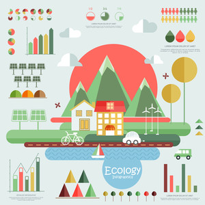 Set of ecology infographic elements with view of city and various statistical graphs and charts.